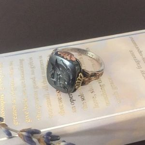 VINTAGE Hematite 10k Gold Sterling Art Deco Ring 7